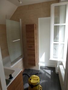"""pose d'une paroi de douche,d'une colonne,de sol gamme berryflor """"ardoise""""et la réalisation d'un placard avec une porte miroir"""